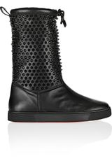 Christian Louboutin Surlapony Spikes Shearling lined Leather Boots - Lyst