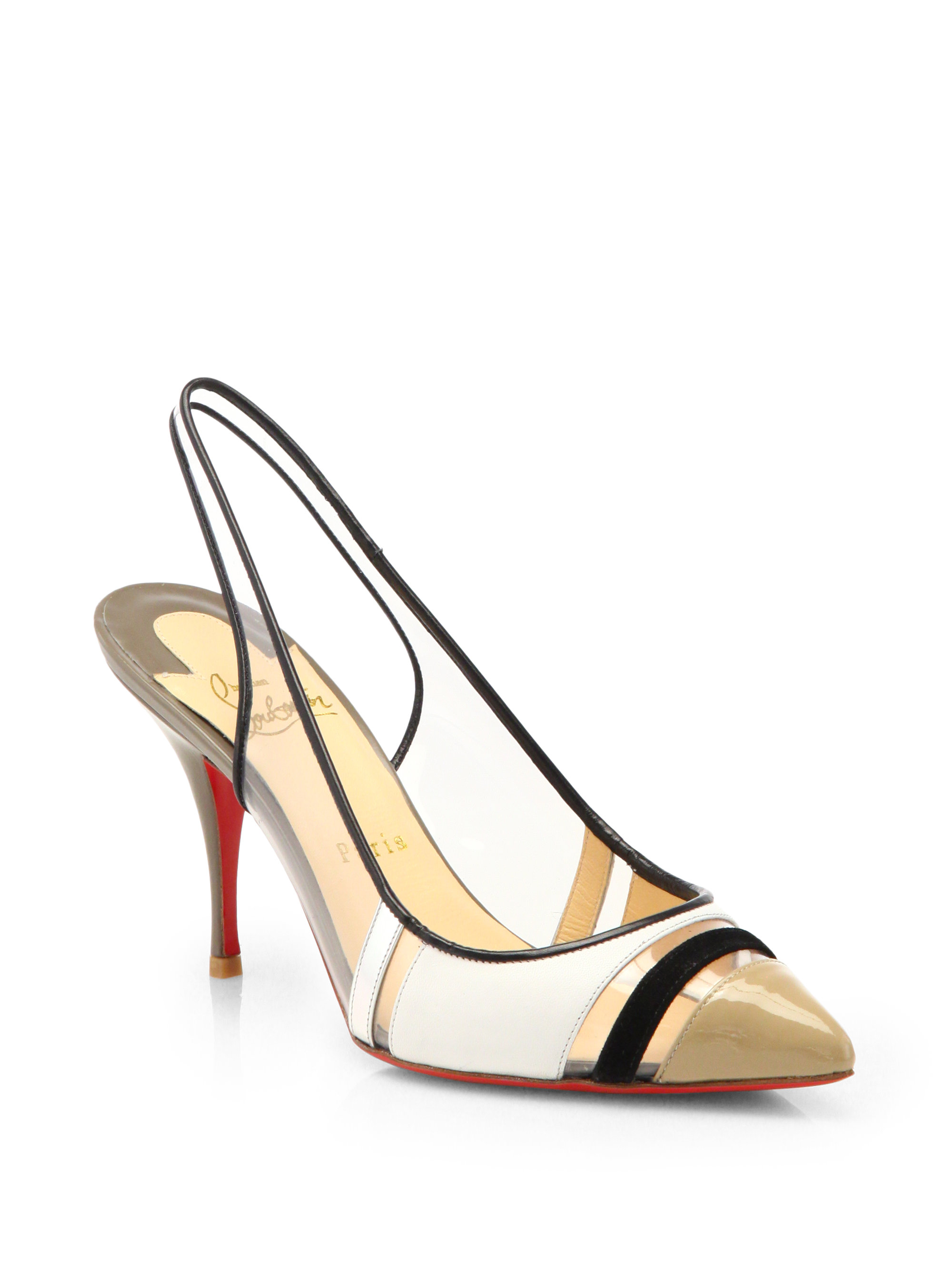 christian louboutin leather plexi wedge slingback pumps | Natural ...