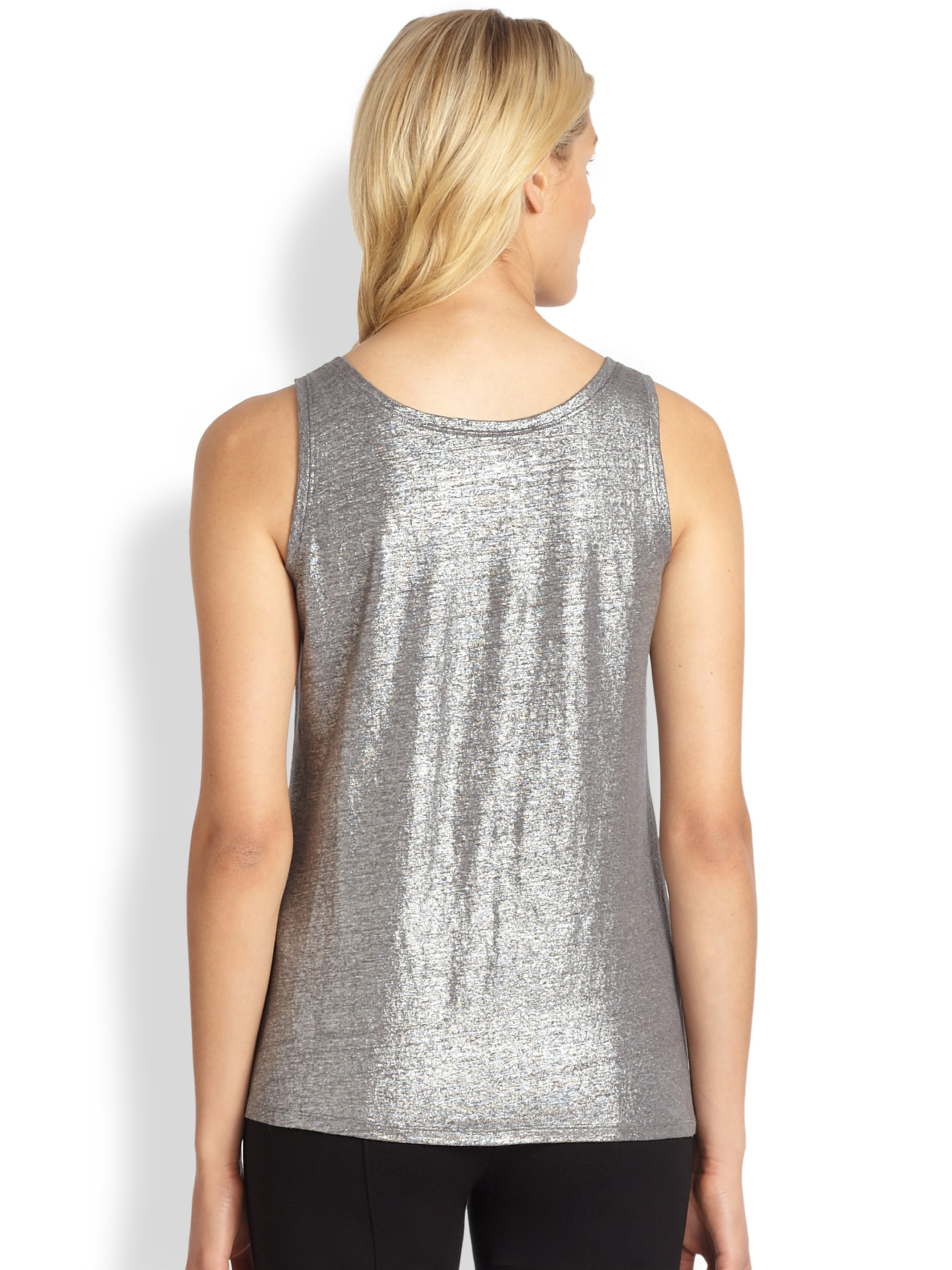 Lyst Eileen Fisher Shimmer Knit Tank Top In Metallic