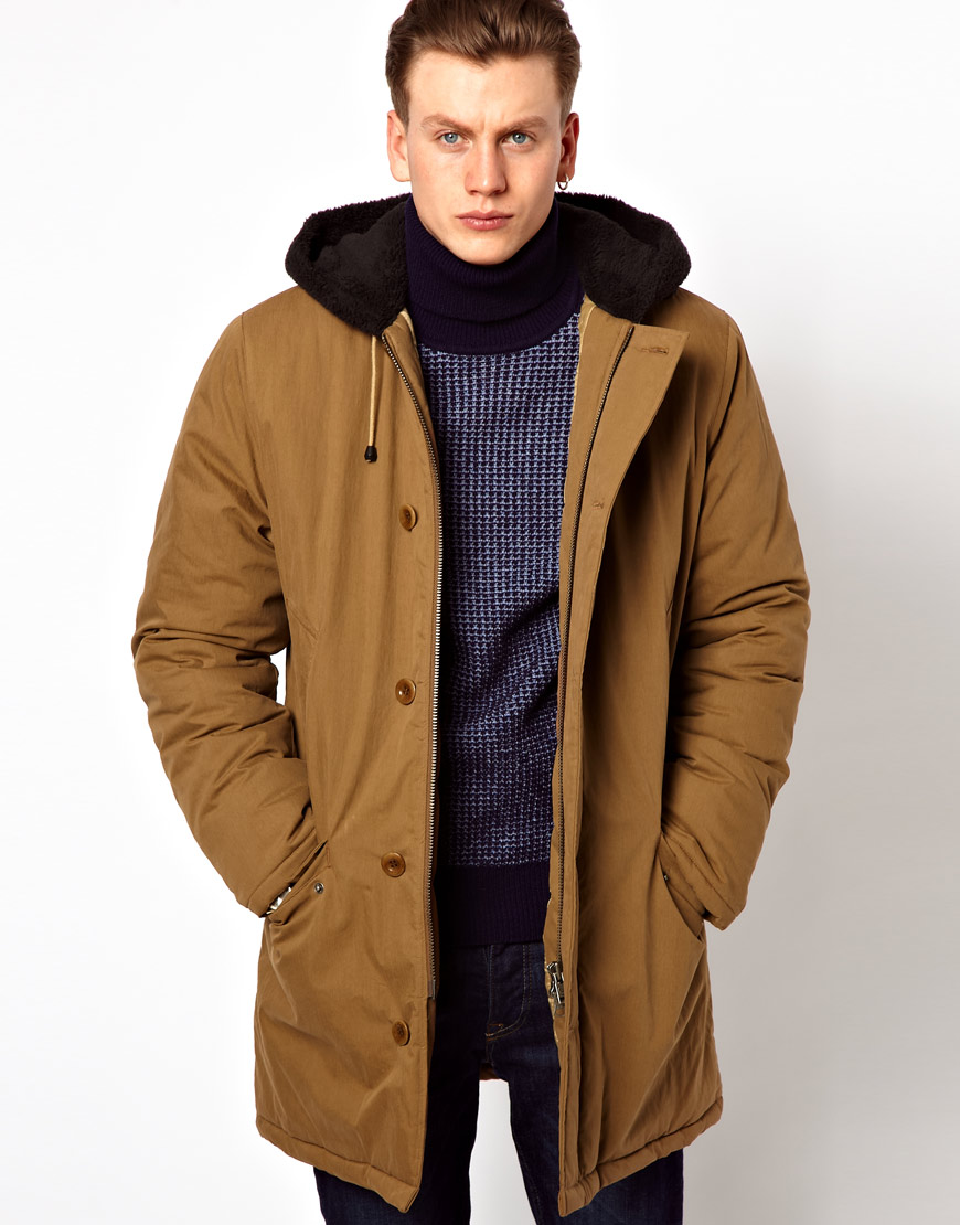 fred perry quilted parka in natural for men lyst. Black Bedroom Furniture Sets. Home Design Ideas