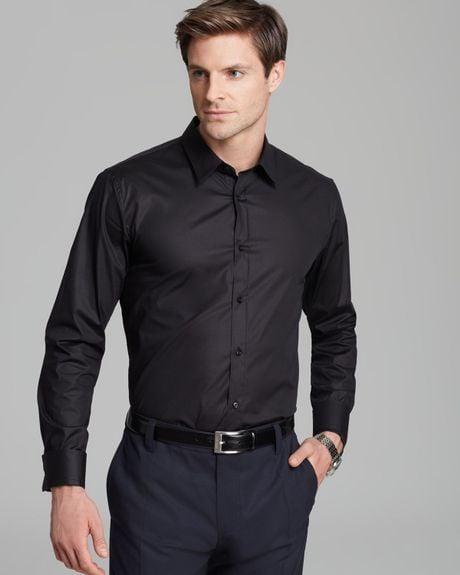 hugo boss hugo elisha button down shirt slim fit in black for men. Black Bedroom Furniture Sets. Home Design Ideas