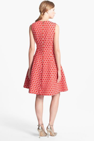 Kate Spade Cory Dot Jacquard Fit Flare Dress In Red Pink
