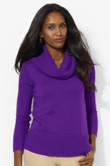 Lauren by Ralph Lauren Ribbed Cowlneck Sweater - Lyst