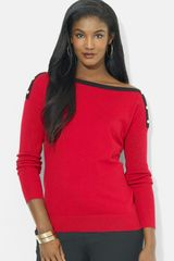 Lauren by Ralph Lauren Button Shoulder Boatneck Sweater - Lyst