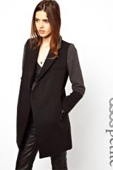 Love Moschino Asos Petite Exclusive Coat With Contrast Collar And Cuff - Lyst