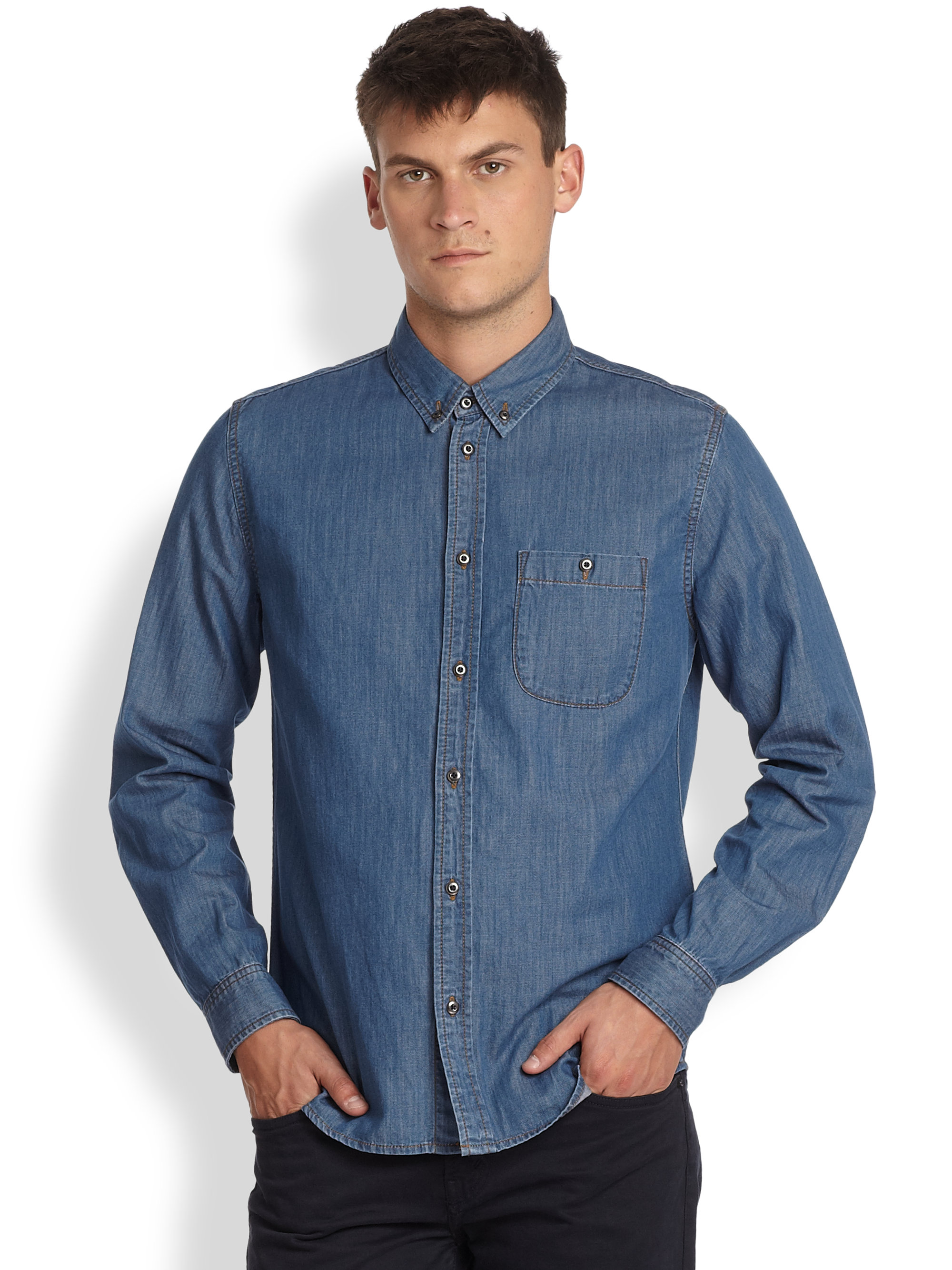 Marc by marc jacobs Denim Button Down Shirt in Blue for Men | Lyst