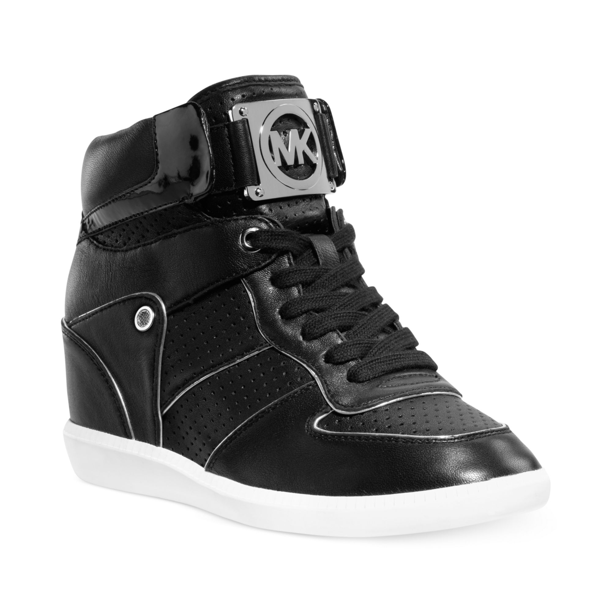 michael kors nikko high top logo sneakers in black lyst. Black Bedroom Furniture Sets. Home Design Ideas