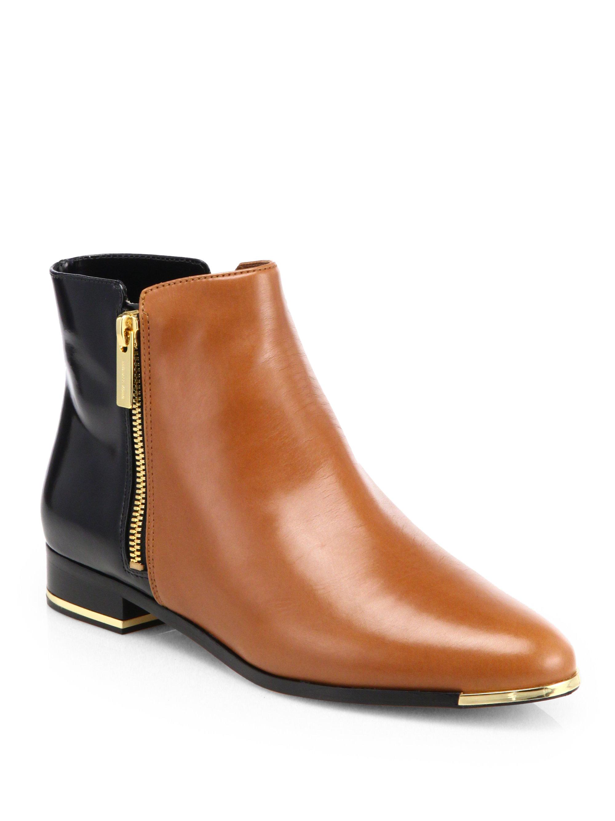 michael kors cindra ankle boots in brown brown black lyst. Black Bedroom Furniture Sets. Home Design Ideas