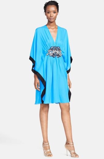 Naeem Khan Jewel Detail Silk Georgette Caftan - Lyst