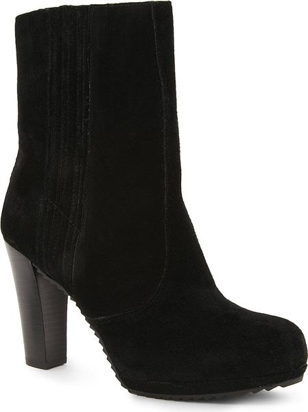 nine west perusha suede ankle boots in black lyst