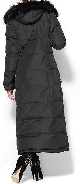Calvin Klein Long Down Coat in Black | Lyst