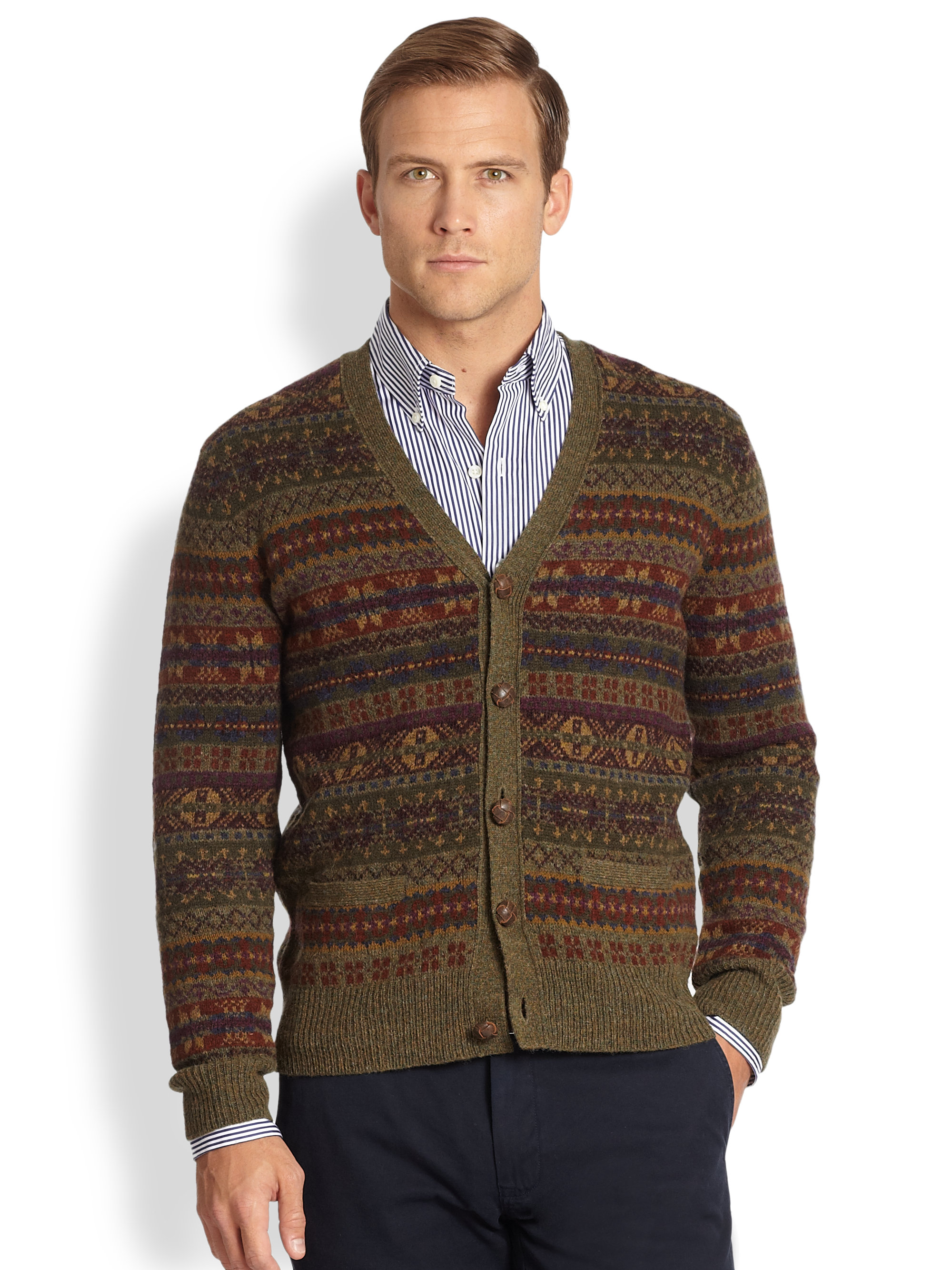 Polo ralph lauren Fair Isle Cardigan in Brown for Men | Lyst