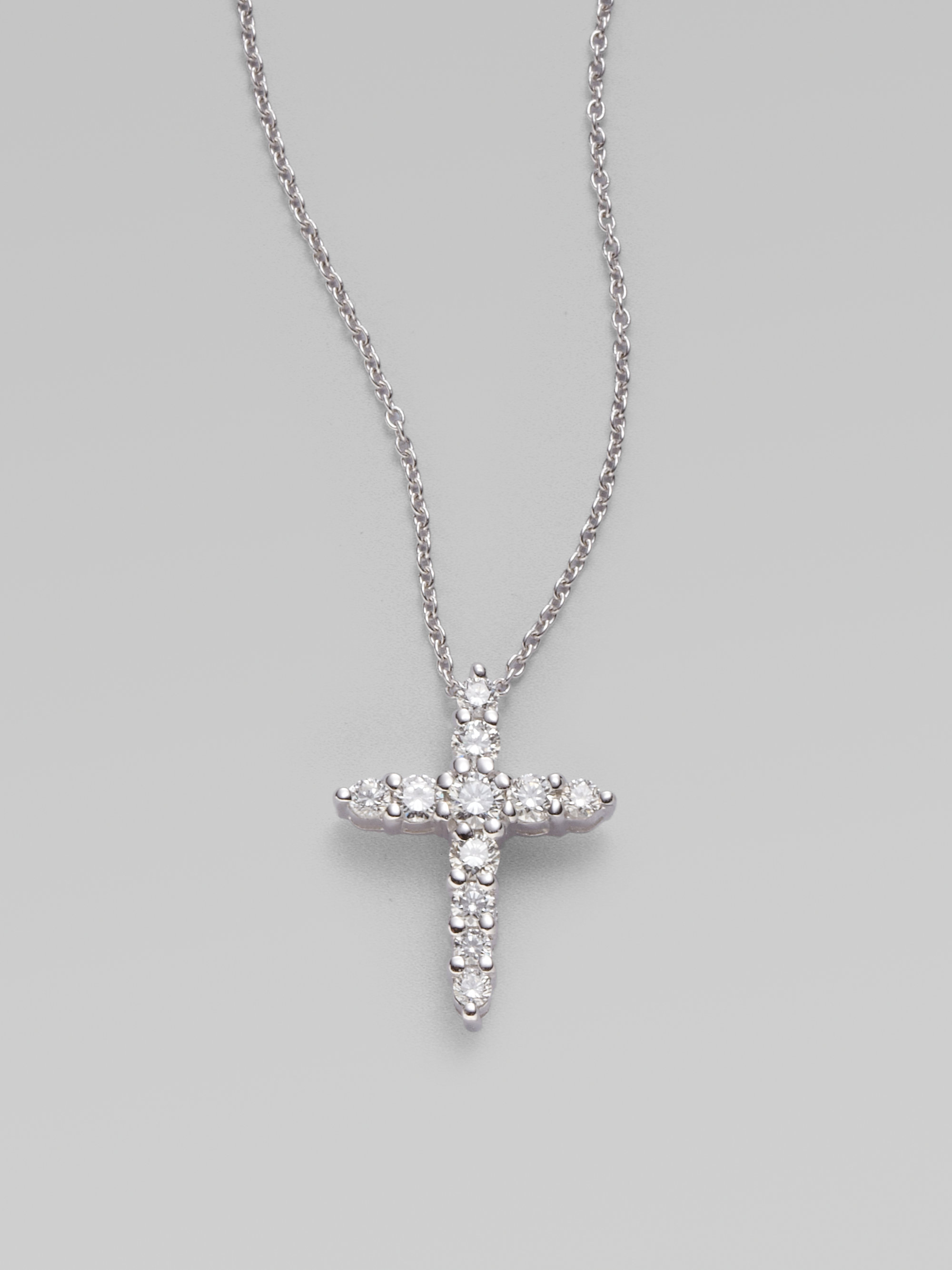Lyst roberto coin 18k white gold diamond cross pendant in white gallery aloadofball Image collections