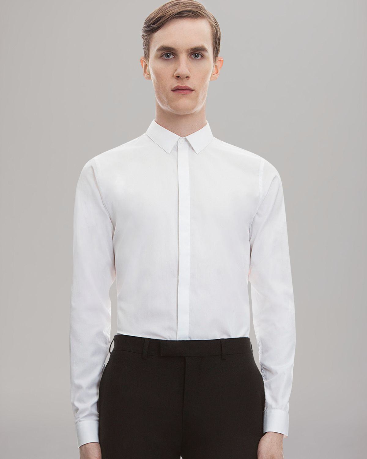 Sandro Solid Button Down Shirt Slim Fit In White For Men