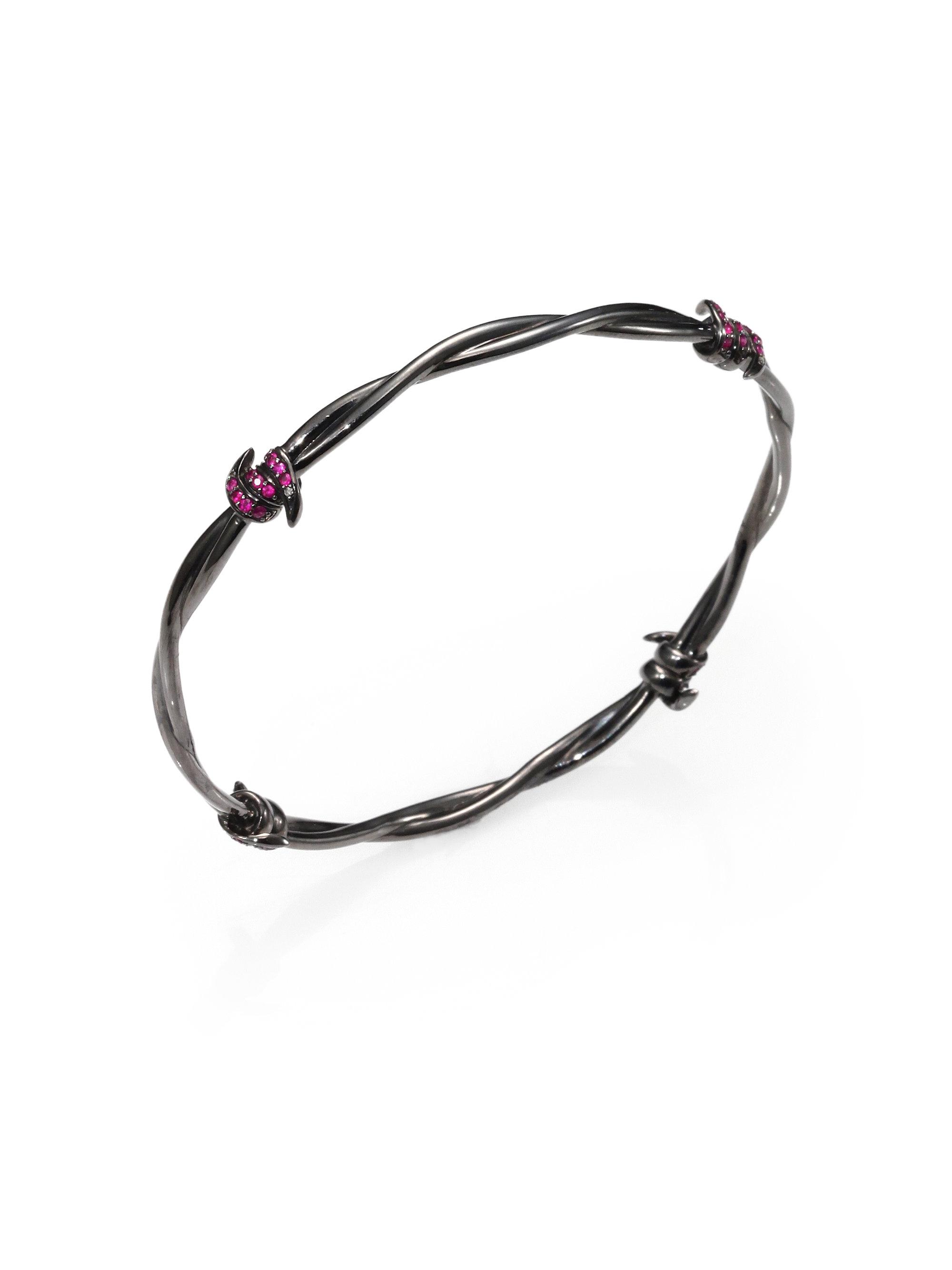 Lyst - Stephen Webster Pave Ruby Diamond Barbed Wire Bangle Bracelet ...