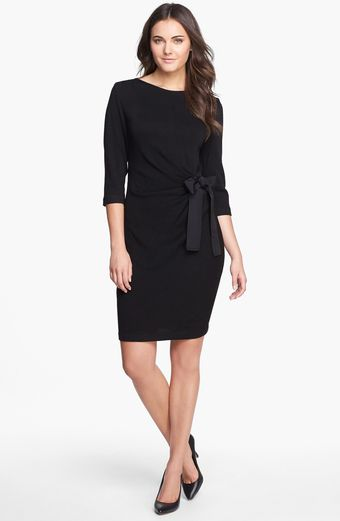 Taylor Dresses Gathered Side Tie Sweater Dress - Lyst