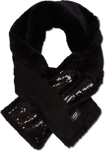 Ugg Sequinned Fur Scarf - Lyst
