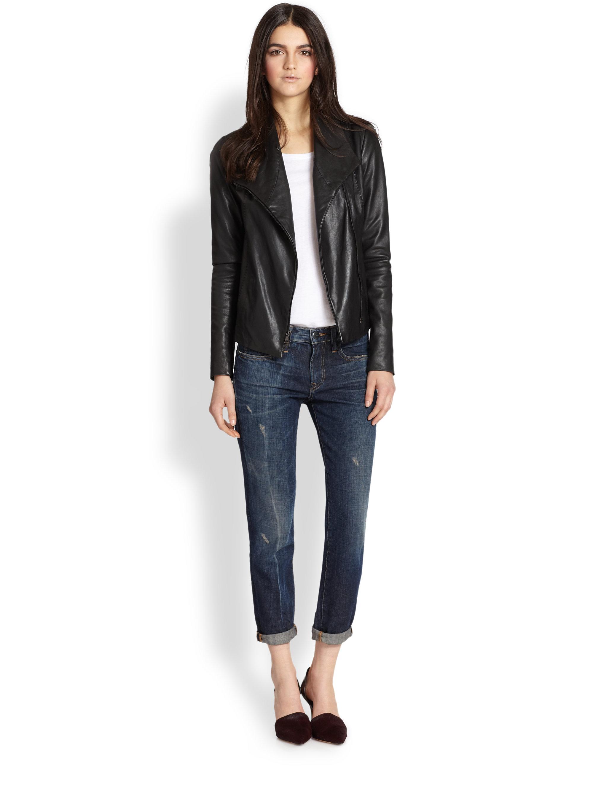 Lyst Vince Leather Scuba Jacket In Black