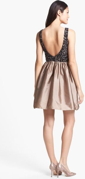 Adrianna Papell Embellished Bodice Fit Flare Dress In