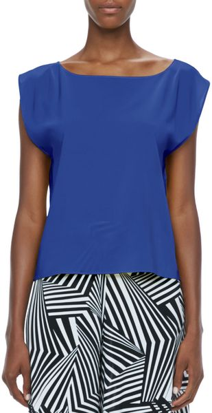 Alice + Olivia Alice Olivia Lincoln Boat Neck Top - Lyst