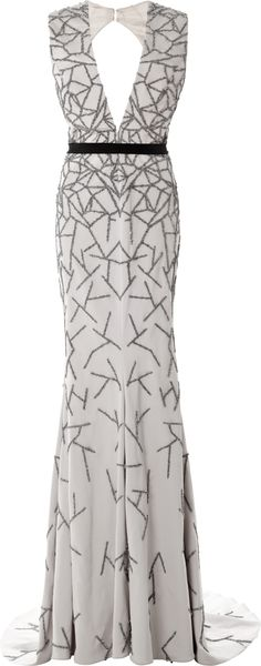 Bibhu Mohapatra Stretch Faille Embroidered Vneck Gown - Lyst