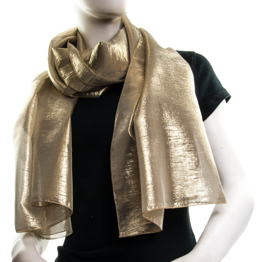 Black.co.uk Shimmering Soft Gold Silk And Lame Wrap
