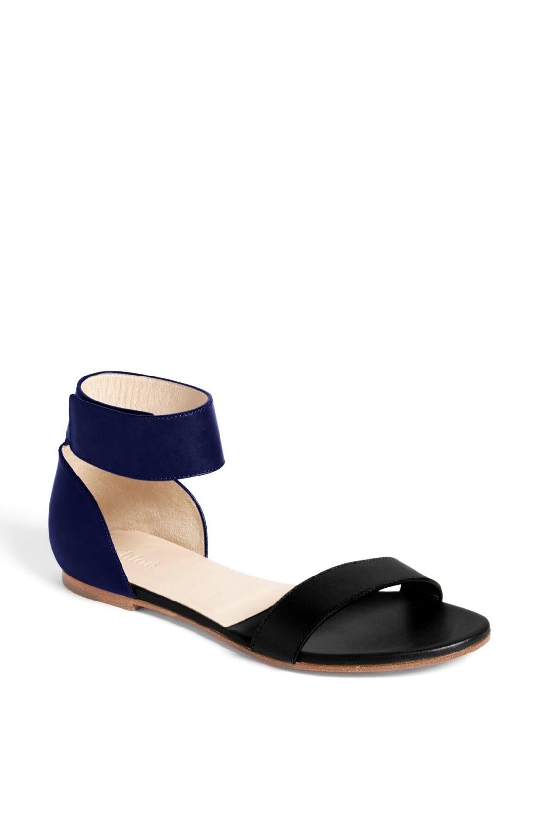 Navy Blue Flat Shoe Ankle Tie