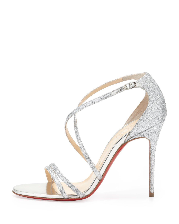 a7a8516b2198 canada shoes follies strass christian louboutin 06e31 e3390  top quality  lyst christian louboutin gwynitta glitter opentoed sandal silver 6cc04 23a59