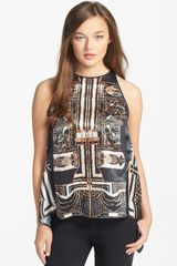 Clover Canyon Gatsby Print Satin Top - Lyst