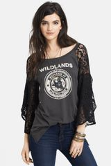 Free People Rock Me Lace Sleeve Cotton Tee - Lyst