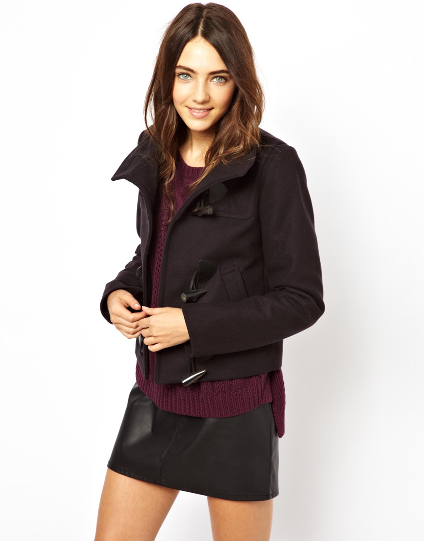 Gloverall Short Duffle Coat in Black | Lyst