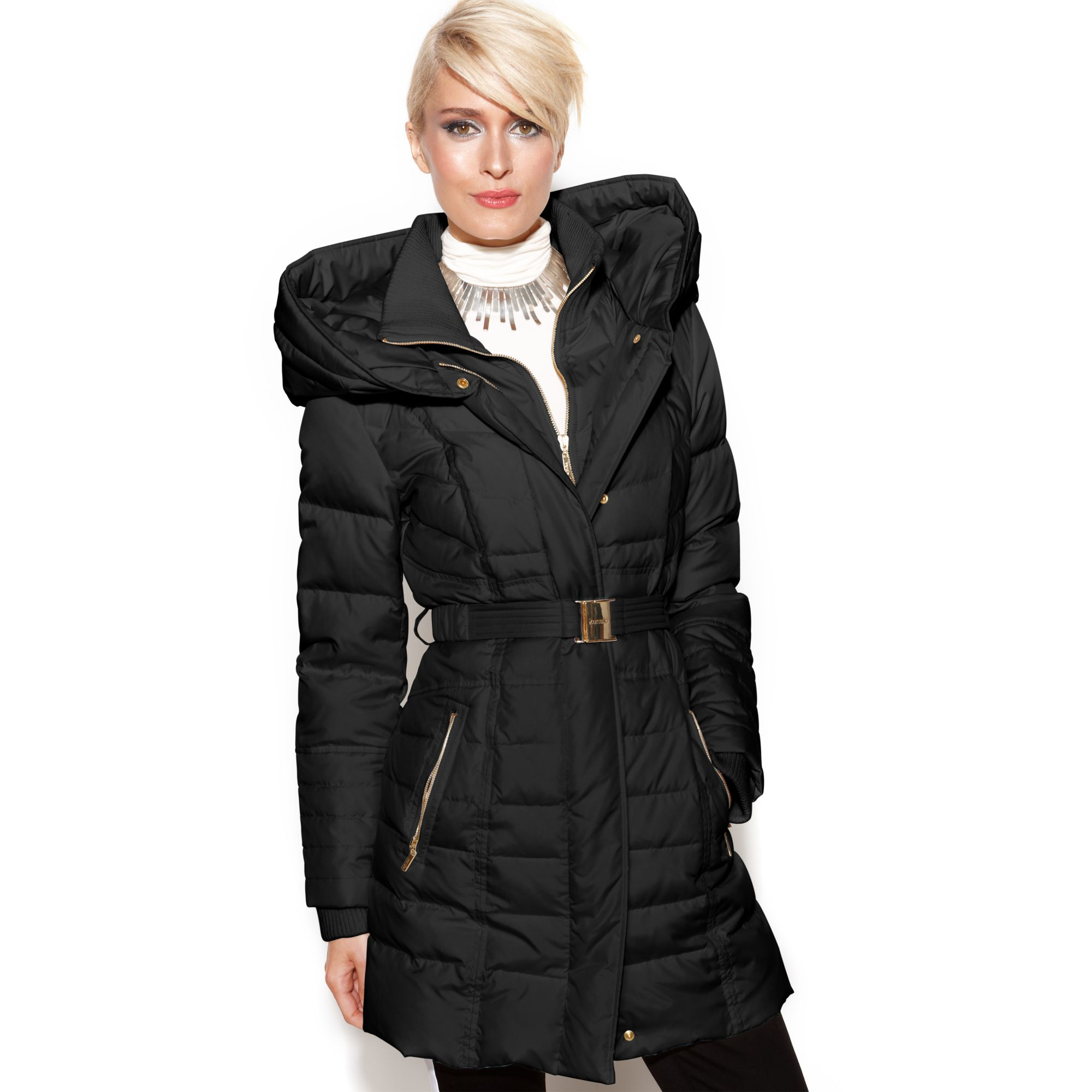 Kensie Hooded Quilted Belted Down Puffer in Black | Lyst : quilted belted coat - Adamdwight.com