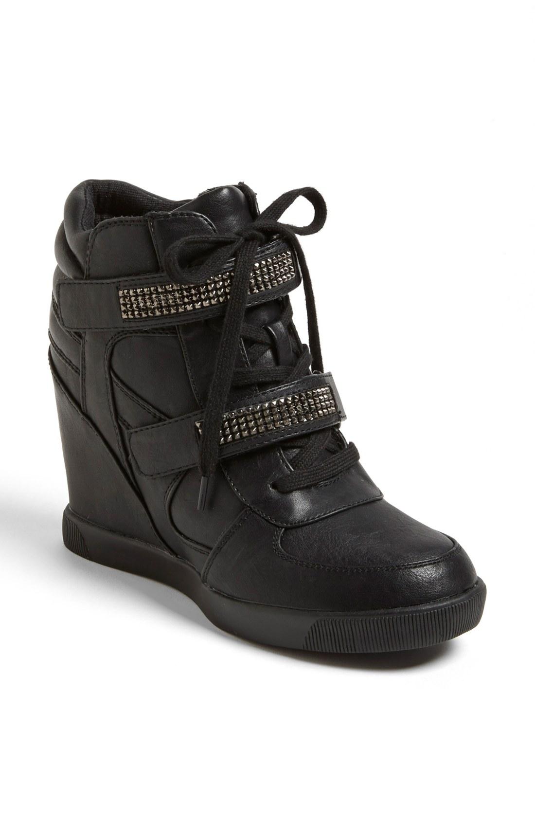 Mia Flamee Wedge Sneaker In Black Black Leather Lyst