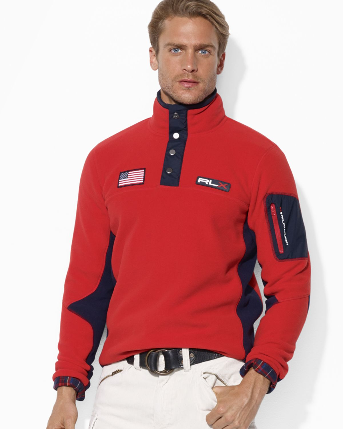 Ralph lauren Polo Usa Polar Fleece Mockneck Jacket in Red for Men