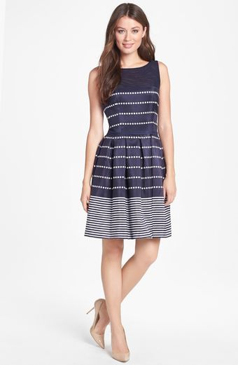 Taylor Dresses Polka Dot Stripe Fit Flare Dress - Lyst