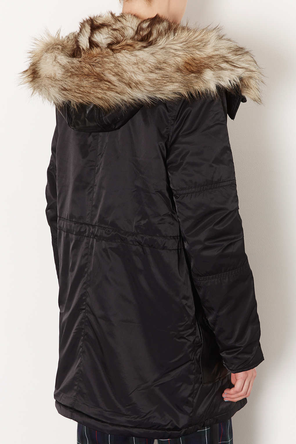 Topshop Fur Lined Long Parka Jacket In Black Lyst