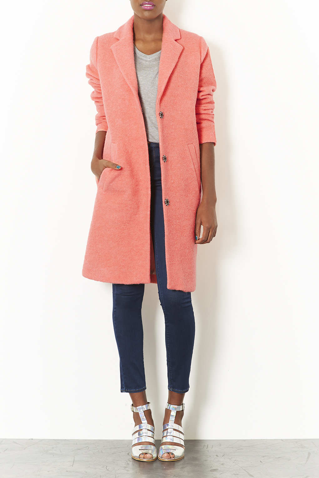 Topshop Wool Boyfriend Coat in Pink | Lyst