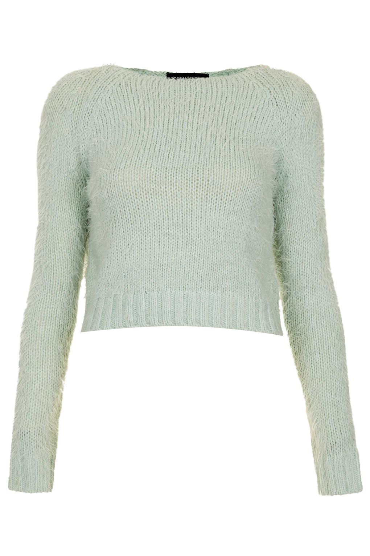 Knitting Pattern Fluffy Jumper : Topshop Tall Knitted Fluffy Crop Jumper in Green (MINT) Lyst