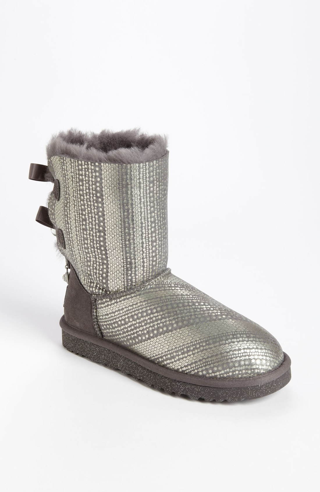 ugg bailey bow bling boot in gray grey lyst