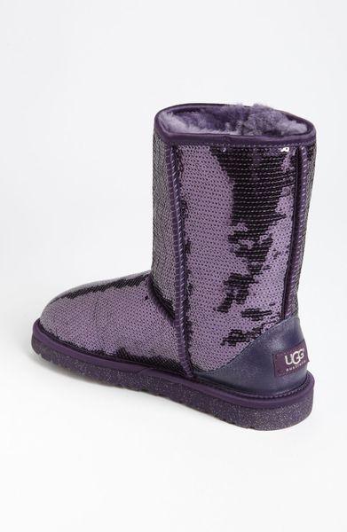 ugg classic short sparkle boot in purple purple velvet