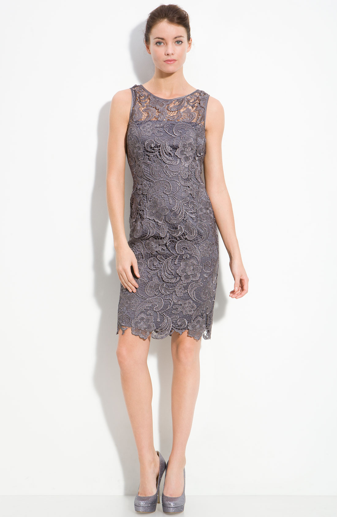 Nothing's as elegant or alluring as lace for an evening affair, and Adrianna Papell's chic sheath is case in point. The sheer overlay at the chest and scalloped hem are flirty-yet-refined distrib-ah3euse9.tk: $