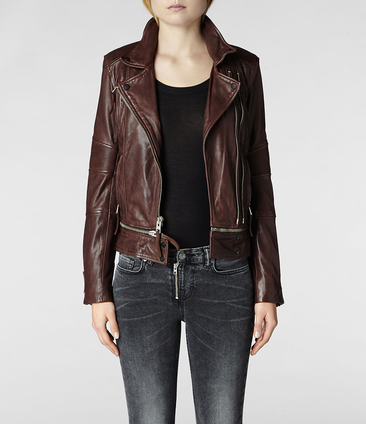 Lyst Allsaints Assembly Leather Biker Jacket In Brown