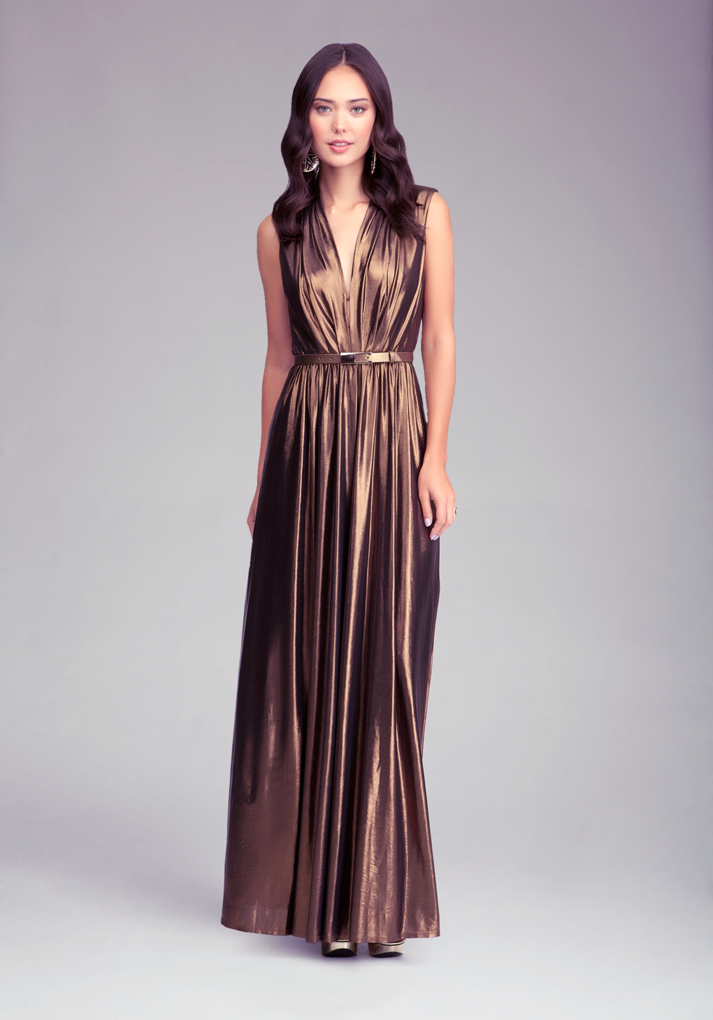 Bebe Deep V Neck Maxi Dress In Metallic Lyst