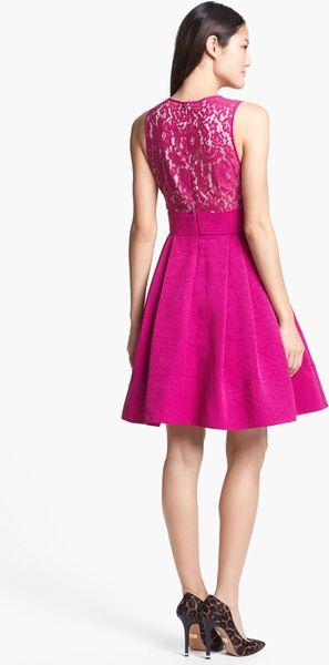 Eliza J Mixed Media Fit Flare Dress In Pink Ruby Lyst