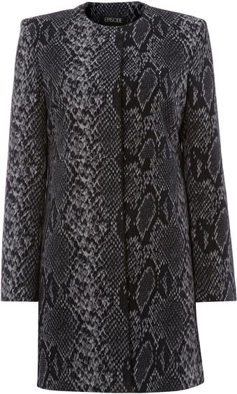 Episode Lizard Print Dress Coat - Lyst