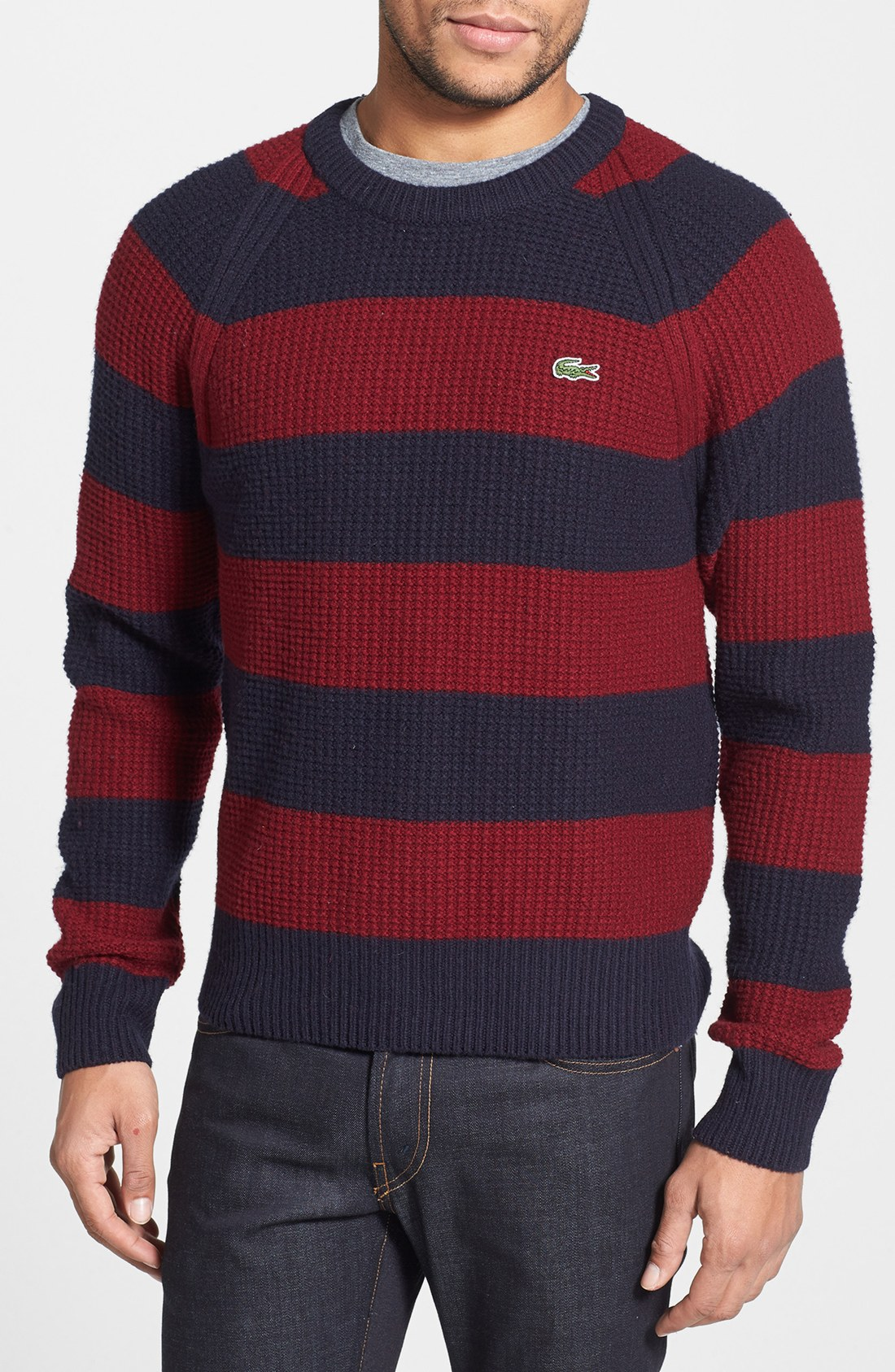 Lacoste Stripe Knit Sweater in Red for Men | Lyst