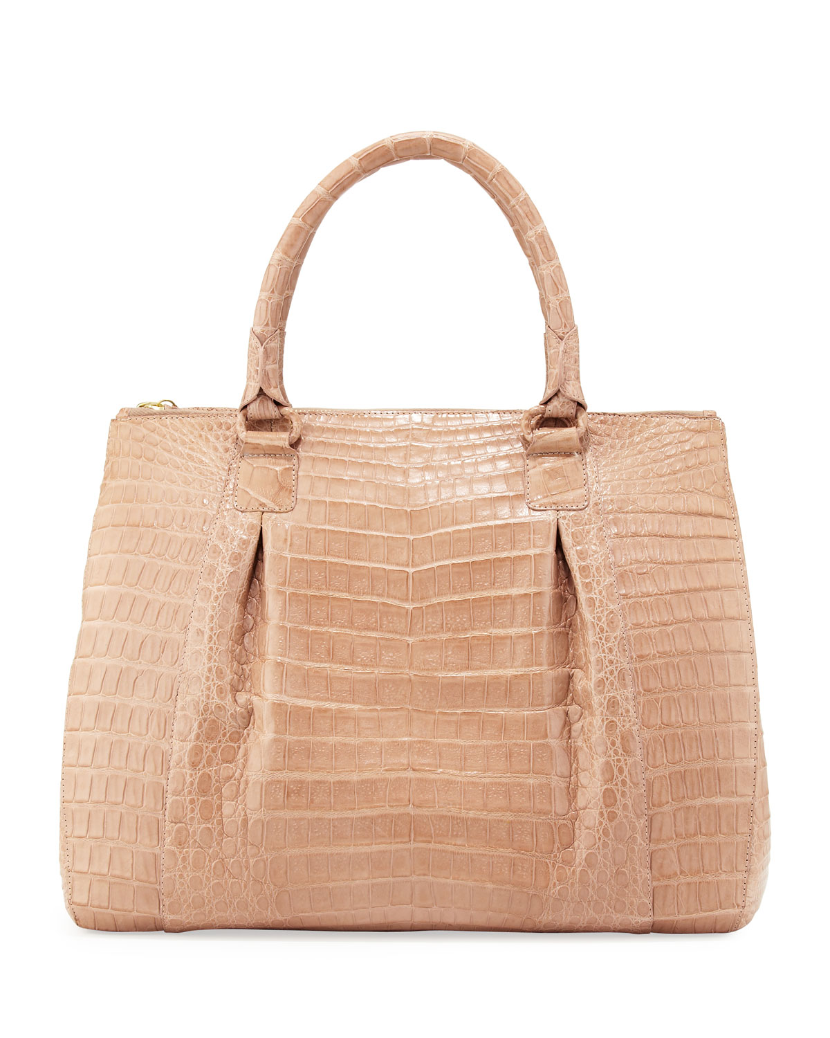 nancy gonzalez large doublezip crocodile tote bag beige in