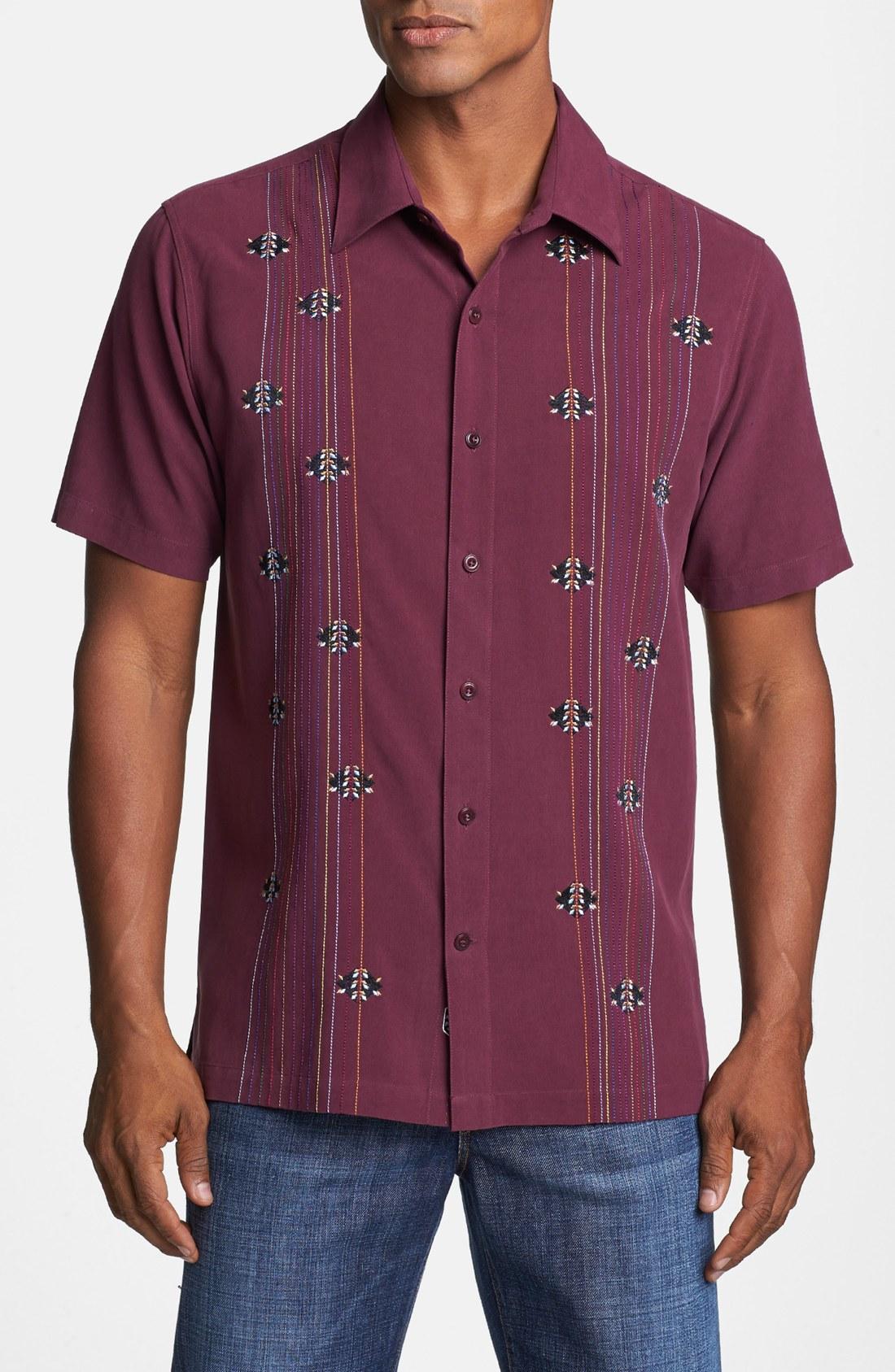 Nat nast branching out short sleeve silk sport shirt in for Silk short sleeve shirt