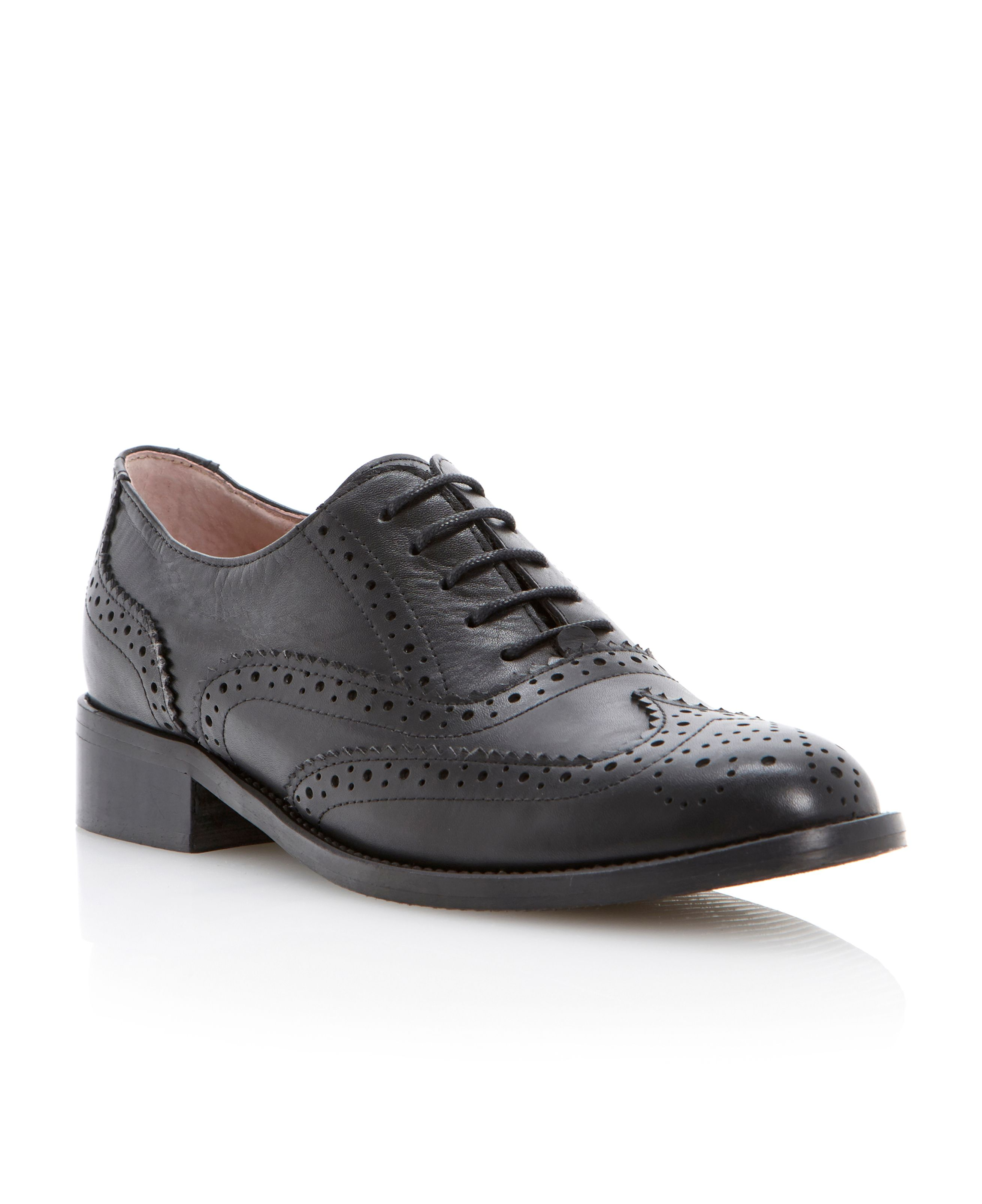 Pied A Terre Hoxley Lace Up Brogue Shoes In Black Black