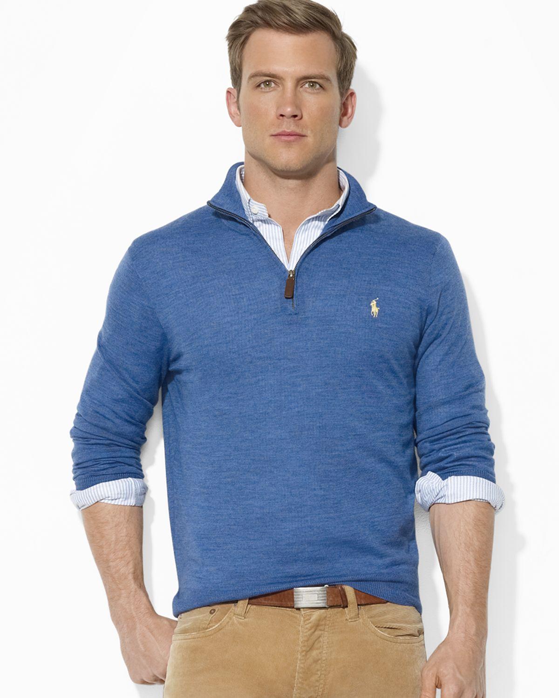 Lyst Ralph Lauren Polo Merino Wool Halfzip Sweater In